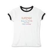 Karma is the balance of positive and negatives in life and the universe. Buddha spoke often of Karma and our need to express positive Karma in our daily acts. Buddha knows best. Get great gifts and shirts for Buddhists at Buddha's Gifts.