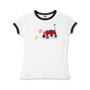 Chick jumping from wagon Girls Ringer T-Shirt
