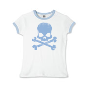 Blue Skull Girls Ringer T-Shirt