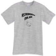 This comical astronomy t-shirt shows a thumb in a self-pointing gesture, and carries the big label: Astronomy Major.