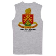 158th Artillery, MLRS - Light Color Sleeveless T-Shirts: Front & Back Insignia, Available in 3 Light Colors.