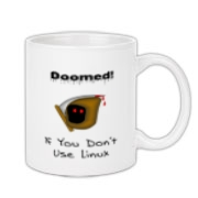 This Linux nerd coffee mug says: Doomed If You Don't Use Linux. For emphasis it has an ominous image of the grim reaper.