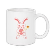 Celebrate Chinese New Year with this cute year of the metal rabbit mug! This rabbit is happily carrying a red and gold pinwheel with bells! Also a great gift for someone who just loves rabbits! Red version. Image on both sides.