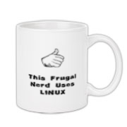 This funny computer coffee mug says: This Frugal Nerd Uses Linux. A hand with extended thumb points to the user. If you're smart enough to use Linux, you're smart enough to use this design.