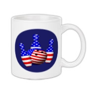This patriotic USA bowling coffee mug has bowling pins and bowling ball all covered in stars and stripes.
