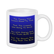 This funny cosmology limerick coffee mug explains that instead of ultimately shrinking is size, the universe is bound to expand forever, due to the force of dark energy.