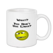 This satirical Linux nerd mug design show offense at non-Linux users. The grimacing smiley face says: What? You Don't Use Linux?