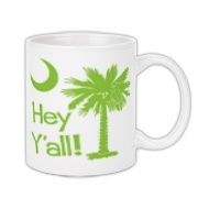 Say hello with the Lime Green Hey Y'all Palmetto Moon Coffee Mug. It features the South Carolina palmetto moon.