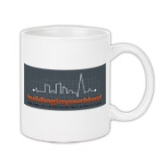 Coffe mugs made immortal by the addition of our buildinginyourblood logo!