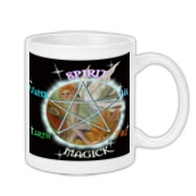 Wicca Pentacle with the 5 points named earth, air, water, fire and spirit.  Magick is within the cirlcle in the form of a faery.  Buy 2 or more of the same design and save.
