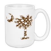 Chocolate Brown Polka Dot Palmetto Moon Large Coffee Mug features a chocolate brown palmetto moon with white polka dots. Buy this fun variation on the South Carolina palmetto moon flag today!