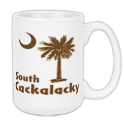 Brown South Cackalacky Palmetto Moon Large Coffee Mug features the South Carolina palmetto moon logo in brown.