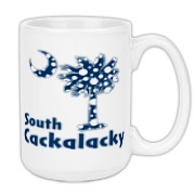 Blue Polka Dots South Cackalacky Palmetto Moon Large Coffee Mug features a Polka Dot South Carolina palmetto moon logo in blue.