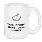 This Linux nerd large coffee mug says: This Frugal Nerd Uses Linux. A hand with extended thumb points to the user. If you're smart enough to use Linux, you're smart enough to use this design.