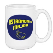 This witty astronomy large coffee mug shows a thumb's up gesture, indicating a proud astronomy major.