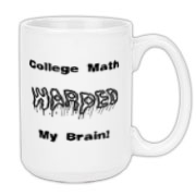 This funny college math large coffee mug is perfect for the college math student. It says: College Math WARPED My Brain! The word Warped is, well, warped.