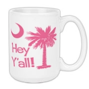 Say hello with the Pink Hey Y'all Palmetto Moon Large Coffee Mug. It features the South Carolina palmetto moon.