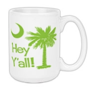 Say hello with the Lime Green Hey Y'all Palmetto Moon Large Coffee Mug. It features the South Carolina palmetto moon.