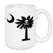 Buy a Jolly Roger Pirate Palmetto Moon Large Coffee Mug 15oz featuring a palmetto with a Jolly Roger pirate flag background. The palmetto moon is a symbol of South Carolina pride.