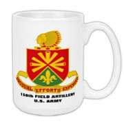 158th Artillery, MLRS - Coffee Mug, Large: Image distortion caused by the 2D image of a curved object. Actual item image is clear and sharp.