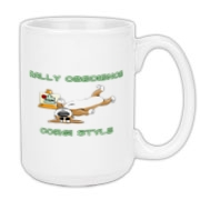 Pembroke Welsh Corgi rally-o mugs, with a funny twist! The dog is laying next to an orange cone that says down, but he's on his back with his legs up in the air. Awesome rally obedience humor for dog lovers that own corgis.