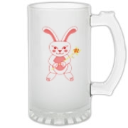 Celebrate Chinese New Year with this cute year of the metal rabbit glass stein! This rabbit is happily carrying a red and gold pinwheel with bells! Also a great gift for someone who just loves rabbits! Red version. Image on both sides.