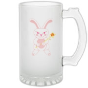 Celebrate Chinese New Year with this cute year of the metal rabbit glass stein! This rabbit is happily carrying a red and gold pinwheel with bells! Also a great gift for someone who just loves rabbits! Pink version. Image on both sides.