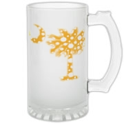 Yellow Polka Dot Palmetto Moon Frosted Glass Stein features a yellow palmetto moon with white polka dots. Buy this fun variation on the South Carolina palmetto moon flag today!