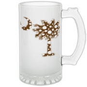 Chocolate Brown Polka Dot Palmetto Moon Frosted Glass Stein features a chocolate brown palmetto moon with white polka dots. Buy this fun variation on the South Carolina palmetto moon flag today!
