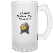 This whimsical Linux frosted glass stein touts the popularity of the Linux operating system with an image of a computer nerd penguin saying Linux Makes You Happier!