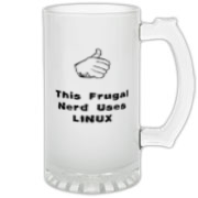 This humorous Linux frosted glass stein says: This Frugal Nerd Uses Linux. A hand with extended thumb points to the user. If you're smart enough to use Linux, you're smart enough to use this design.