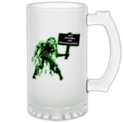 Unemployed Zombie Stuff Frosted Glass Stein