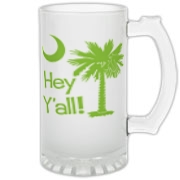 Say hello with the Lime Green Hey Y'all Palmetto Moon Frosted Glass Stein. It features the South Carolina palmetto moon.