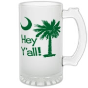 Say hello with the Green Hey Y'all Palmetto Moon Frosted Glass Stein. It features the South Carolina palmetto moon.