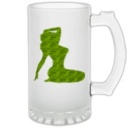 Pin Up Tiger Frosted Glass Stein