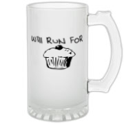 Will Run for Cake Frosted Glass Stein