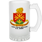 158th Artillery, MLRS - Frosted Glass Stein: Image distortion caused by the 2D image of a curved object. Actual item image is clear and sharp