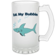 A smiling shark with bubbles above him says Eat My Bubbles. Great gift for swim team members