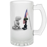 Fallen Soldiers Frosted Glass Stein