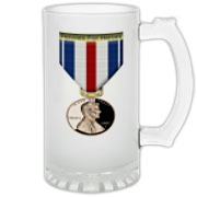 Pennies For Heroes Medal Frosted Glass Stein