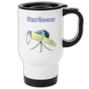 This humorous astronomer travel mug shows an old telescope staring at the heavens, with the caption: StarGeezer. A great gift for that aging telescope enthusiast in your galaxy.