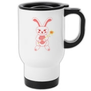 Celebrate Chinese New Year with this cute year of the metal rabbit travel mug! This rabbit is happily carrying a red and gold pinwheel with bells! Also a great gift for someone who just loves rabbits! Red version. Image on both sides.