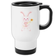 Celebrate Chinese New Year with this cute year of the metal rabbit travel mug! This rabbit is happily carrying a red and gold pinwheel with bells! Also a great gift for someone who just loves rabbits! Pink version. Image on both sides.