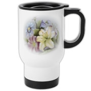 Beautiful boquet on this handy travel mug.