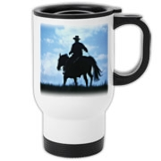 Beautiful silhouette of a cowboy ending his day. What a beautiful gift idea.