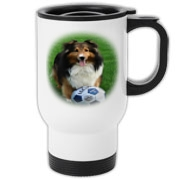 Lovely Sheltie on this handy travel mug...a great gift for any occasion