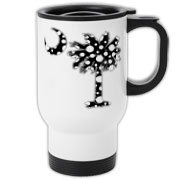 Black Polka Dot Palmetto Moon Travel Mug features a black palmetto moon with white polka dots. Buy this fun variation on the South Carolina palmetto moon flag today!