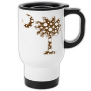 Chocolate Brown Polka Dot Palmetto Moon Travel Mug features a chocolate brown palmetto moon with white polka dots. Buy this fun variation on the South Carolina palmetto moon flag today!