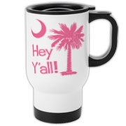 Say hello with the Pink Hey Y'all Palmetto Moon Travel Mug. It features the South Carolina palmetto moon.
