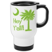 Say hello with the Lime Green Hey Y'all Palmetto Moon Travel Mug. It features the South Carolina palmetto moon.